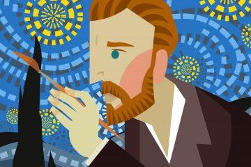Ilustração de Van Gogh pintando o quadro noite ilustrada